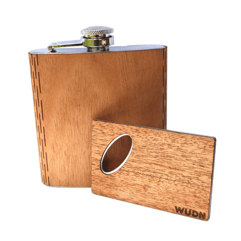 6 oz. Wooden Hip Flask & Matching Credit Card Bottle Opener (2-Piece Flask Set)