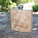 Colorado Landscape 6 oz. Wooden Hip Flask - Outdoor Adventure Series - Art by Ben McKenzie
