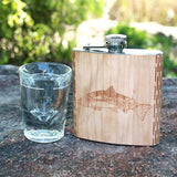 Salmon Night Landscape 6 oz. Wooden Hip Flask - Outdoor Adventure Collection - Art by Ben McKenzie