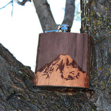 6 oz. Wooden Hip Flask (Mt. Rainier in Mahogany & Black Walnut)