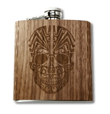 Day of the Dead Skull Hip Flask Wood Black Walnut liquer