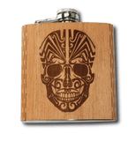 Day of the Dead Skull Hip Flask Wood Mahogany liquer