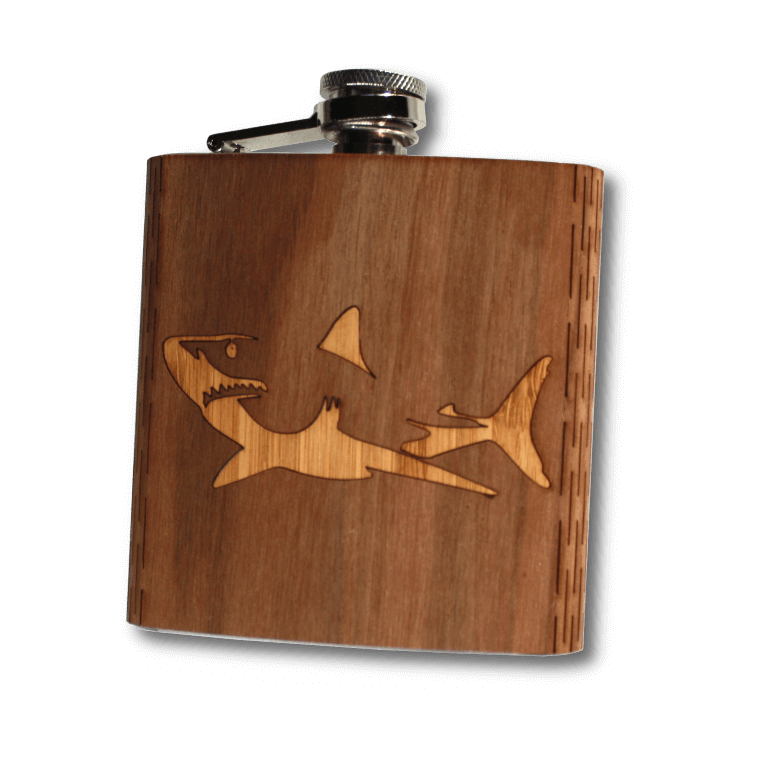 6 oz. Wooden Hip Flask - Great White Shark