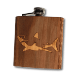 6 oz. Wooden Hip Flask | Great White Shark