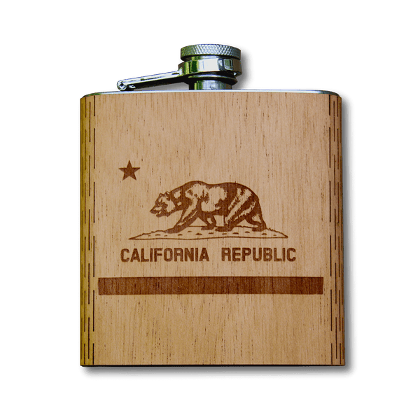 6 oz. Wooden Hip Flask | California Republic Flag in Mahogany