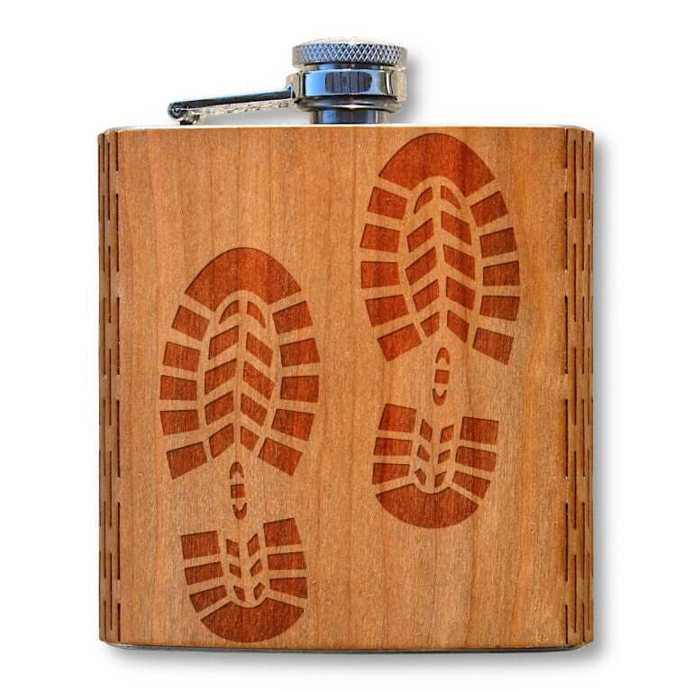 6 oz. Wooden Hip Flask (Boots in American Cherry)