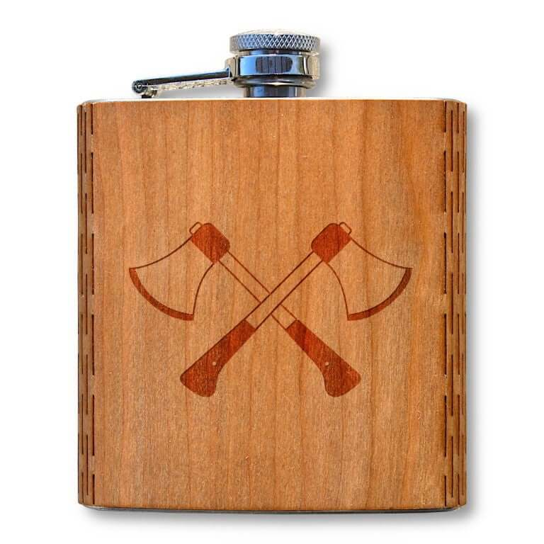 6 oz. Wooden Hip Flask (Hatchets in American Cherry)