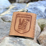 6 oz. Wooden Hip Flask - Freedom '76 Collection (Customized with your City & State)