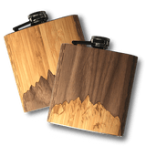 6 oz. Wooden Hip Flask | Sawtooth Mountains in Bamboo & Black Walnut