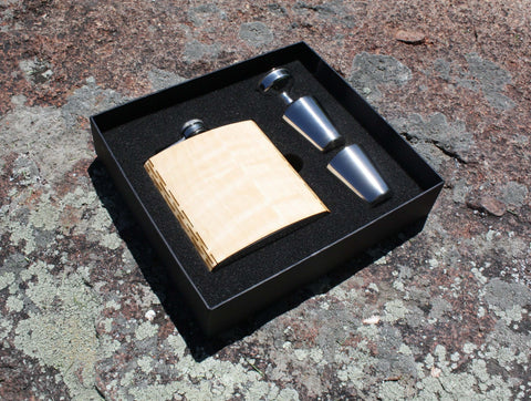 Real Wooden 6 oz. Hip Flask in Premium Gift Box with Shot Glasses & Funnel