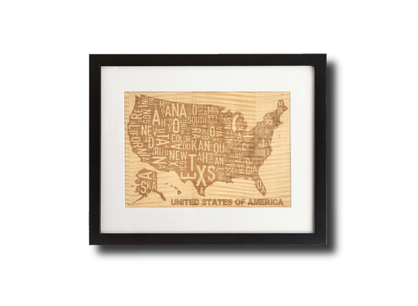 Laser Engraved Wooden Wall Art | USA Map in Shimmering Maple, Home and Office - WUDN