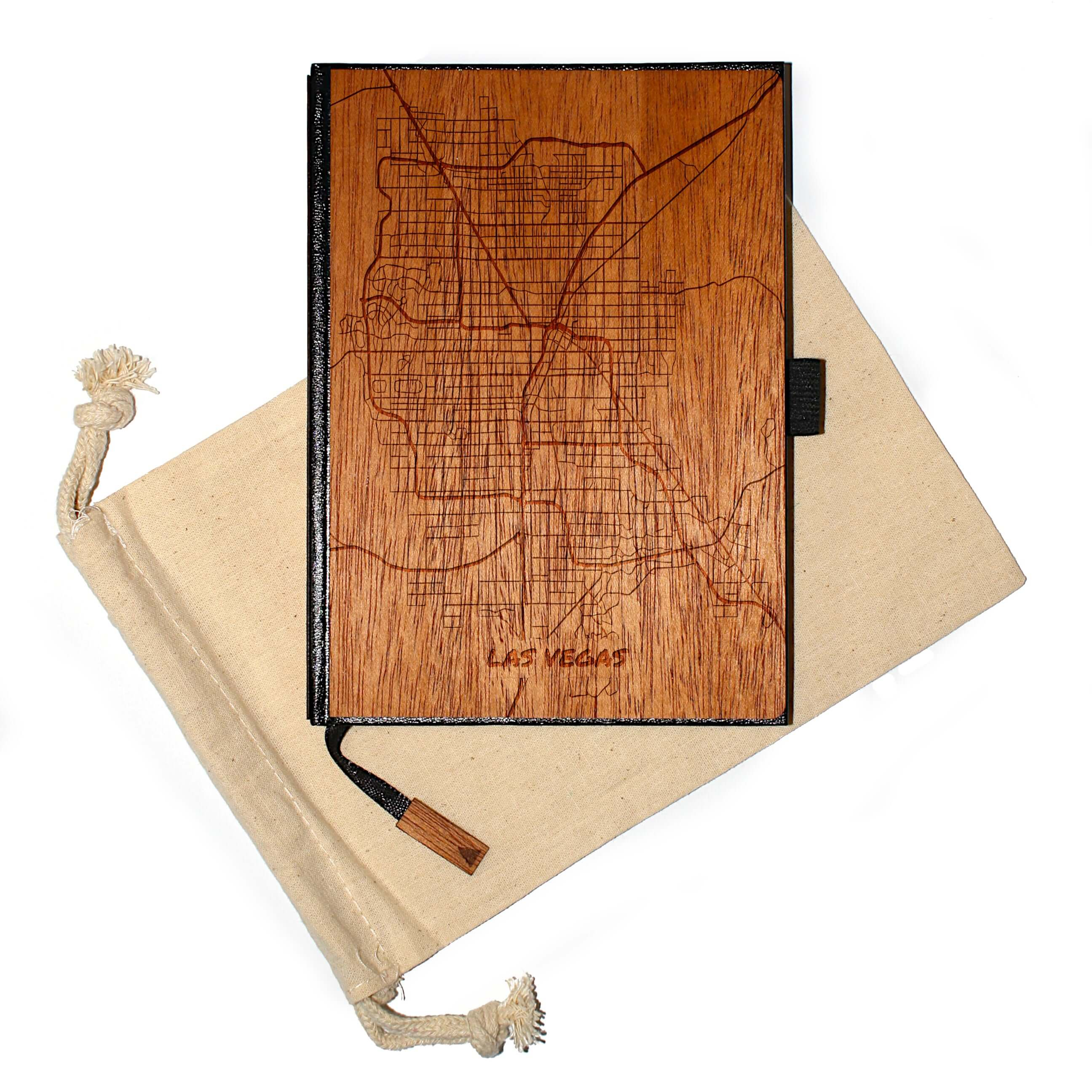 5 x 7 Wood Travel Journal / Planner (147 Laser-Engraved US City Maps) (ALBUQUERQUE to ITHACA)