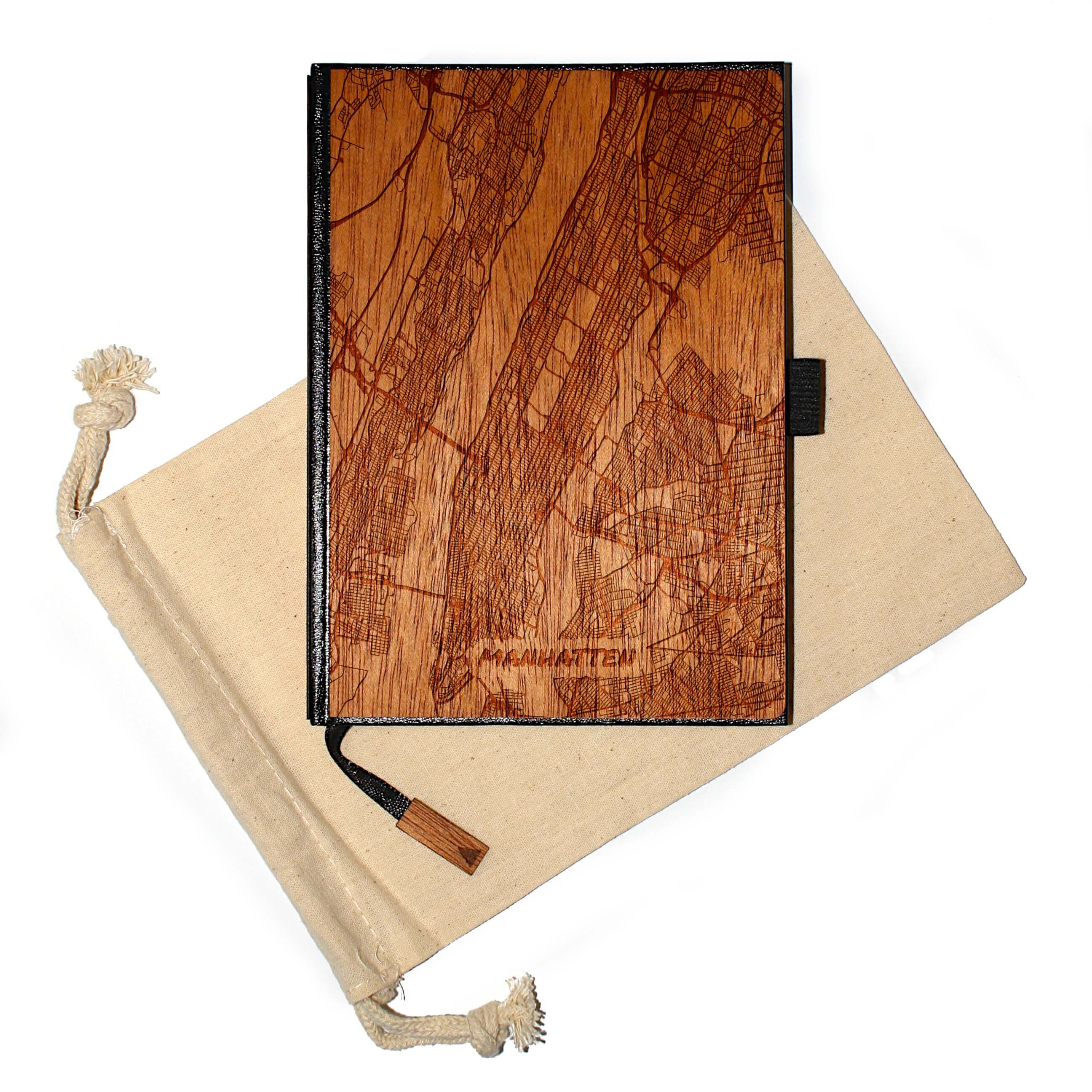 5 x 7 Wood Travel Journal / Planner (147 Laser-Engraved US City Maps) (JACKSON to WICHITA)
