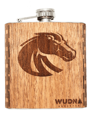 BSU Bronco - 6 oz. Wooden Hip Flask