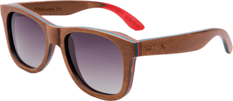Mens & Women's Board Slide Brown Skateboard Wood Sunglasses - Polarized Lenses:
