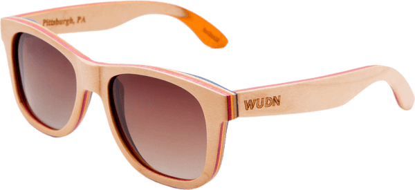 Recycled Skatedeck Kickflip Natural Sunglasses by WUDN