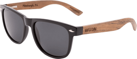 Mens & Women's Handmade Walnut Wood Hybrid Wayfarer - Black Polarized Lenses