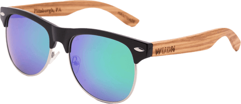 Mens & Women's Vintage Hybrid Zebra Wood Clubmaster Sunglasses - Polarized Lenses - 1