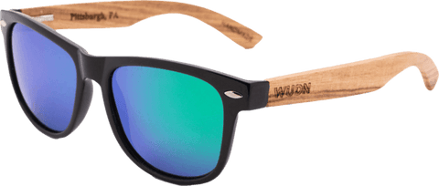 Mens & Women's Handmade Zebra Wood Hybrid Sunglasses - Green Polarized Lenses