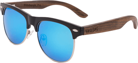 Mens & Women's Vintage Hybrid Dark Walnut Clubmaster Sunglasses - Polarized Lenses - 3