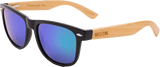 Mens & Women's Handcrafted Bamboo Wooden Hybrid Wayfarer Sunglasses - Green/Blue Polarized Lenses