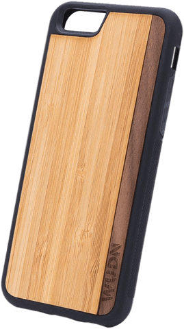 Slim Wooden Phone Case | Bamboo / Walnut Stripe, Cases - WUDN