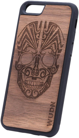 Ultra-Slim Wooden Phone Case | Tribal Skull, Cases - WUDN