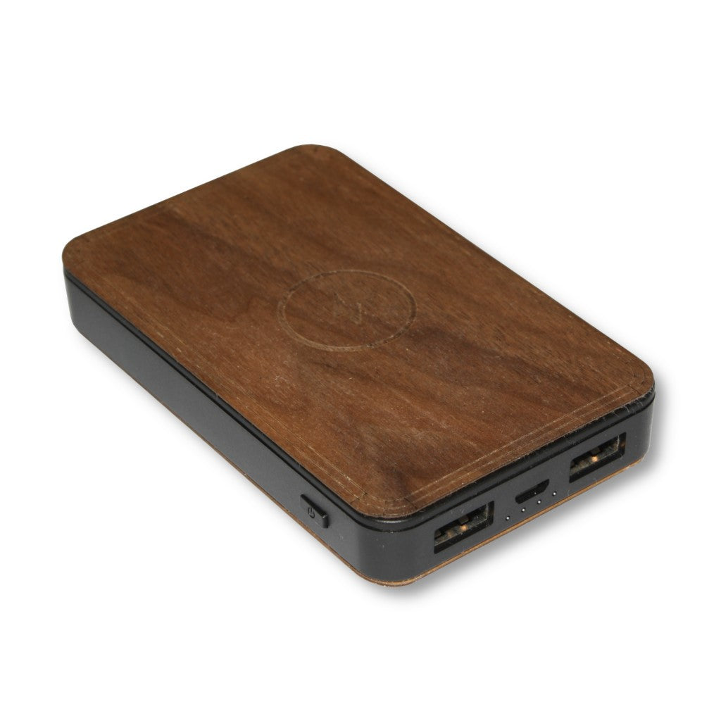 Wooden Powerbank 5000 mAh with Integrated Qi Wireless Charger