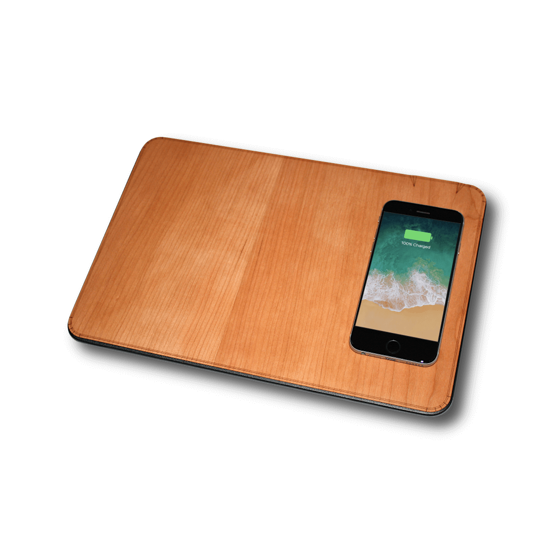 Oversize Wood Mousepad with 10 watt Qi Wireless Fast Charger