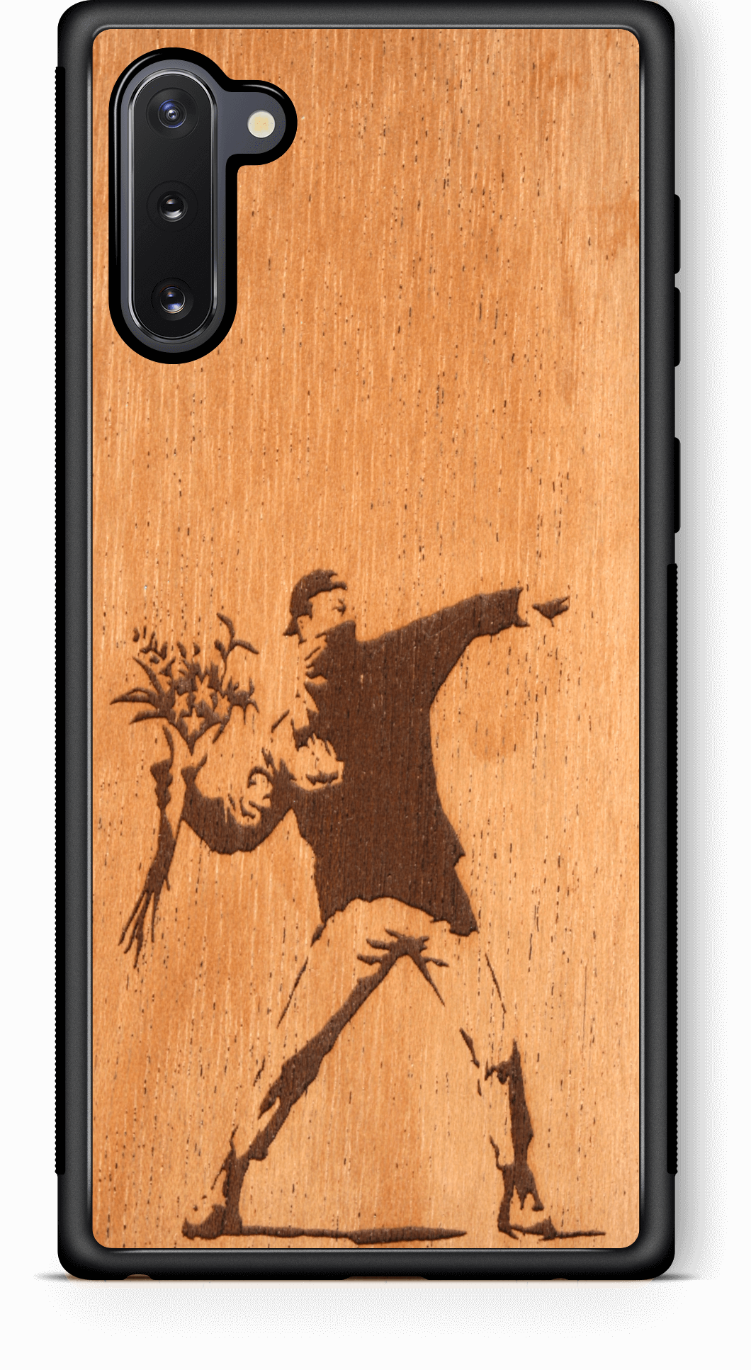 Slim Wooden Phone Case (Banksy Molotov Flowers in Mahogany)