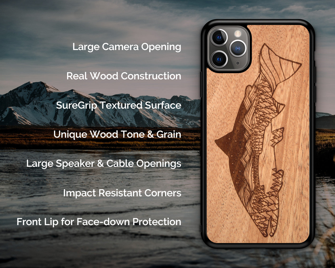 Wooden Phone Case (Outdoor Adventure - Mountain Biker)