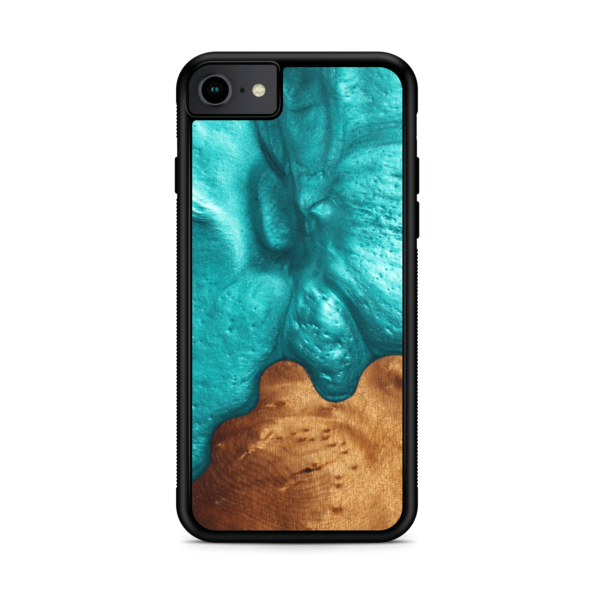 Slim Resin & Wood Phone Case (Coastline Collection - Deep Sea Green)