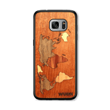Slim Wooden Phone Case (Mahogany Inlay) | World Map Traveler, Cases - WUDN