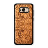 Slim Wooden Phone Case (Mahogany) | Engraved Cat Eyes, Cases - WUDN