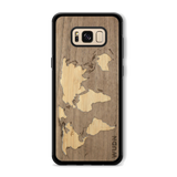 Slim Wooden Phone Case (Walnut Inlay) | World Map Traveler