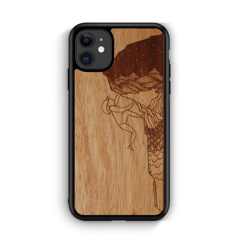 Wooden Phone Case | Outdoor Adventure - Rock Climber Night Landscape