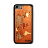 Slim Wooden Phone Case (Mahogany Inlay) | World Map Traveler