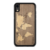 Slim Wooden Phone Case (Walnut Inlay) | World Map Traveler, Cases - WUDN