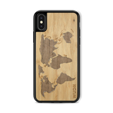 Slim Wooden Phone Case (Bamboo Inlay) | World Map Traveler, Cases - WUDN