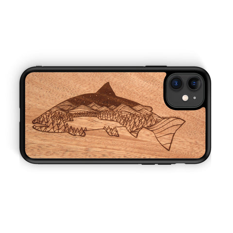 Wooden Phone Case | Outdoor Adventure - Salmon Night Landscape