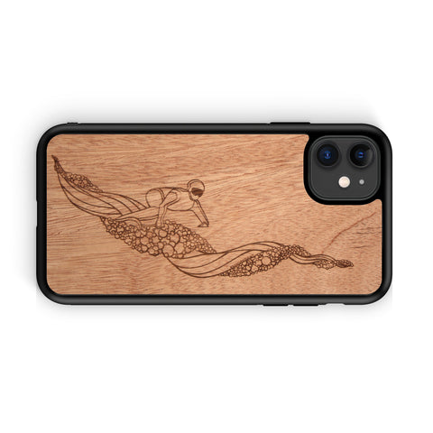 Wooden Phone Case | Outdoor Adventure - Snowboarder Landscape