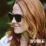 Real Ebony 1/2 Wood Browline Style RetroShade Sunglasses by WUDN, Sunglasses - WUDN