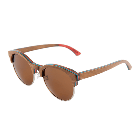 Mens & Womens Brown 1/2 Wood Frame Skateboard-Gray Polarized lenses