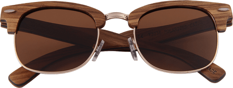 Real Zebra 1/2 Wood Browline Style RetroShade Sunglasses by WUDN