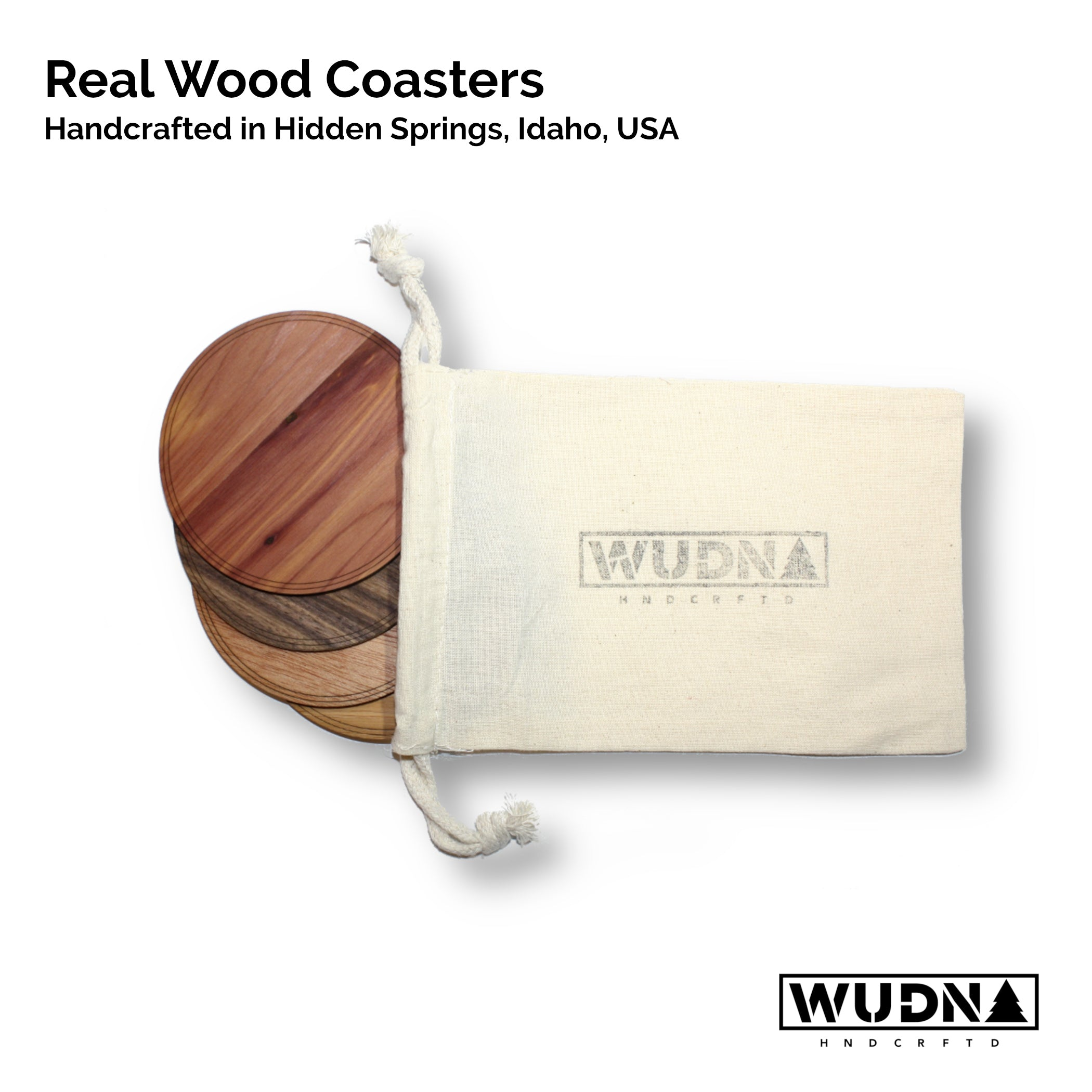 "Wooden Coasters 4"" (18 Shape / Wood Options) 4-Pack"