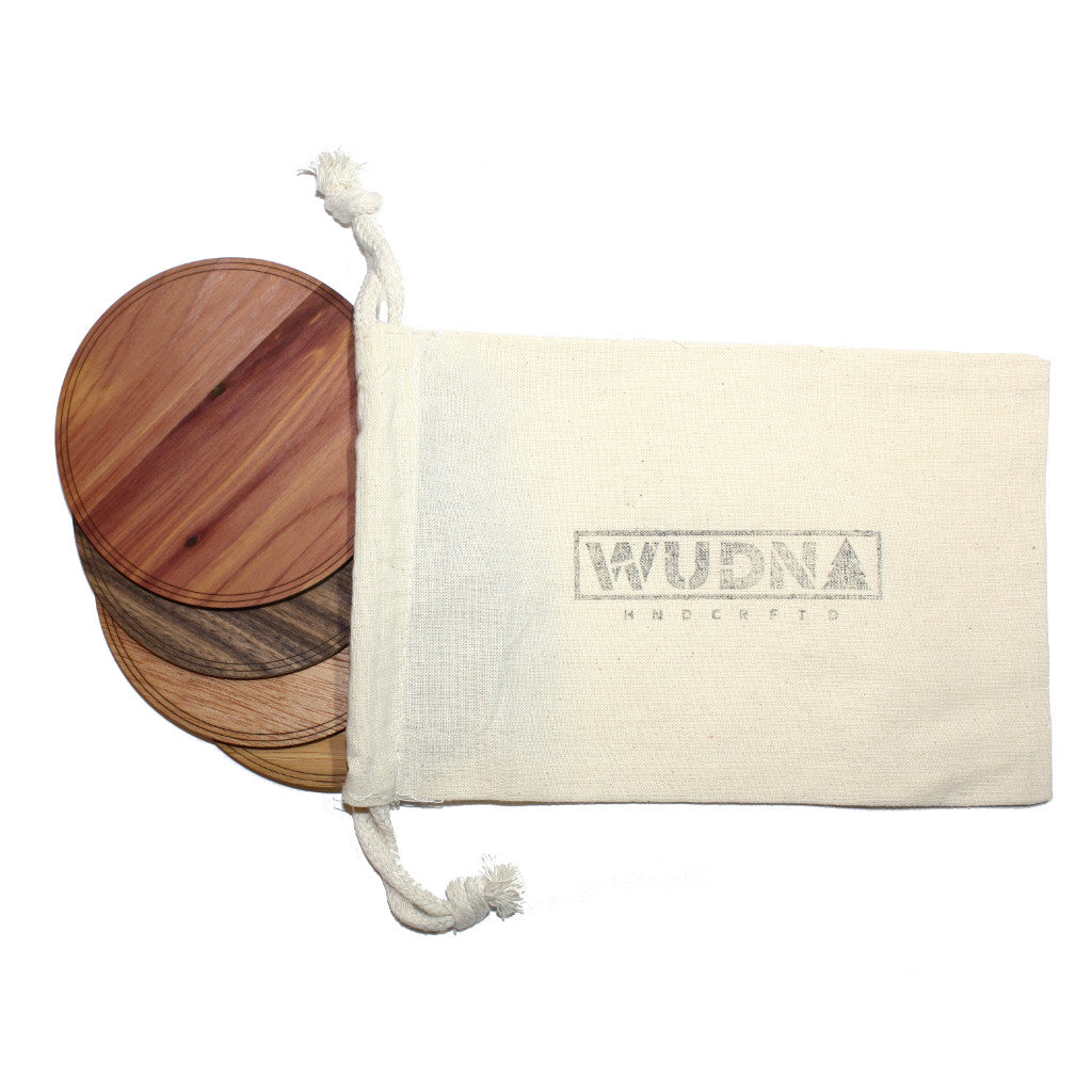 "Wooden Coasters 4"" (Sea Turtle in American Cherry) 4-Pack"