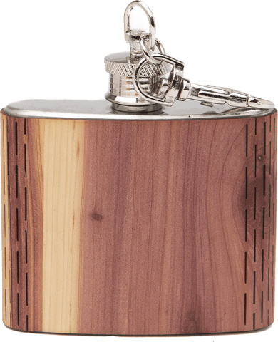 HandCrafted 2 oz. Wood Keychain Flask, Bar - WUDN
