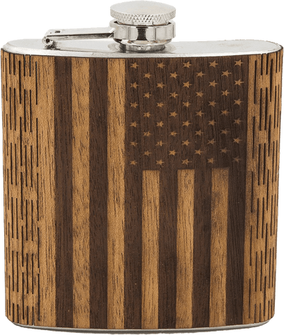 6 oz American Flag Hip Flask, Bar - WUDN