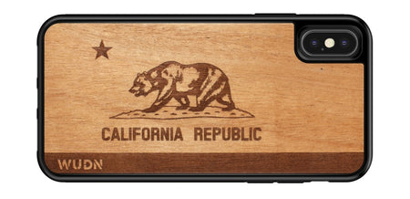 Wooden iPhone 11 case with California flag laser engraved in mahogany