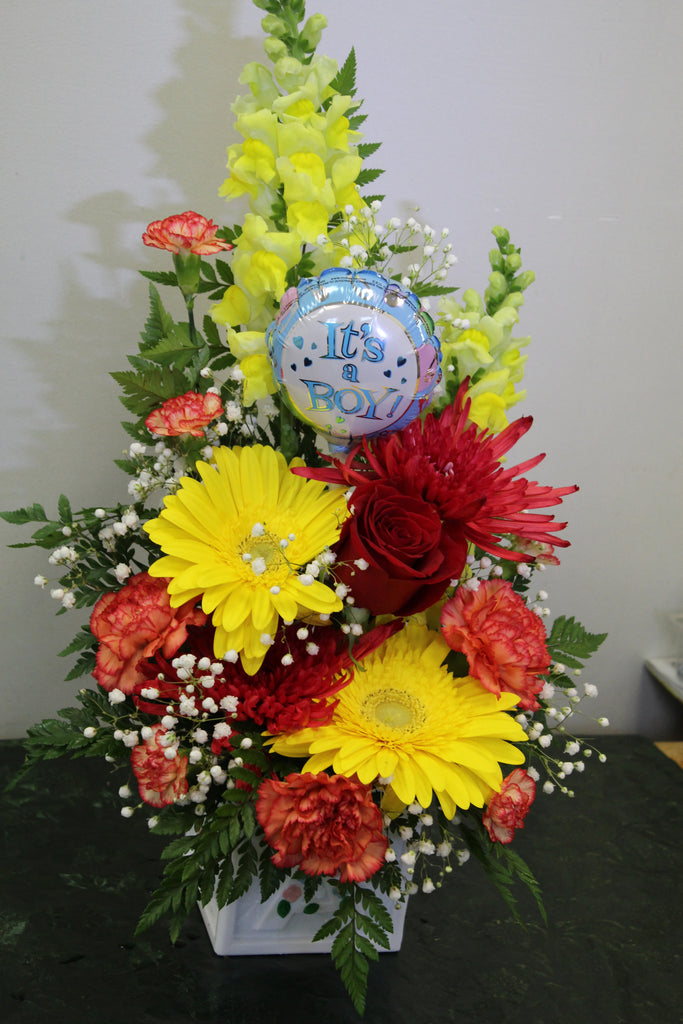 Baby Boy Deluxe Fresh Floral Arrangement The Gift Shop At Humber